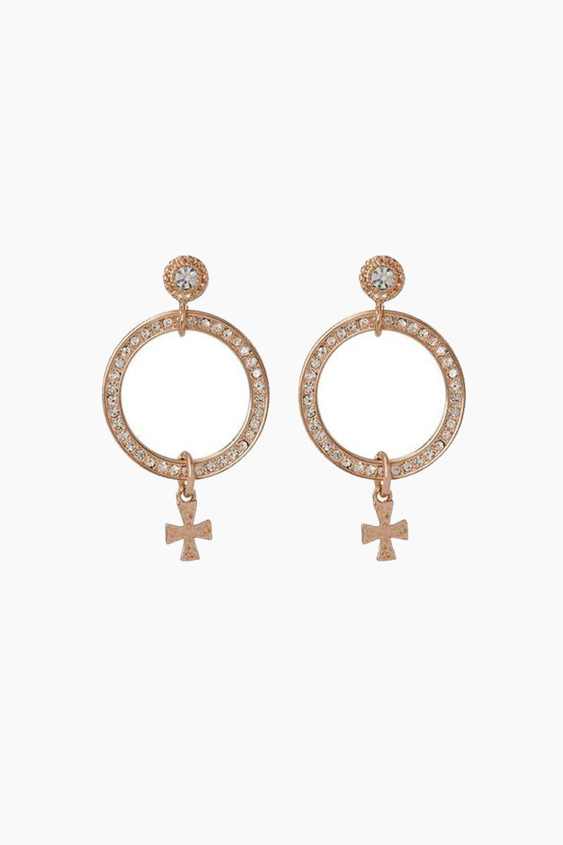 The Moroccan Pave Loop Stud Drop Earrings - Rose Gold