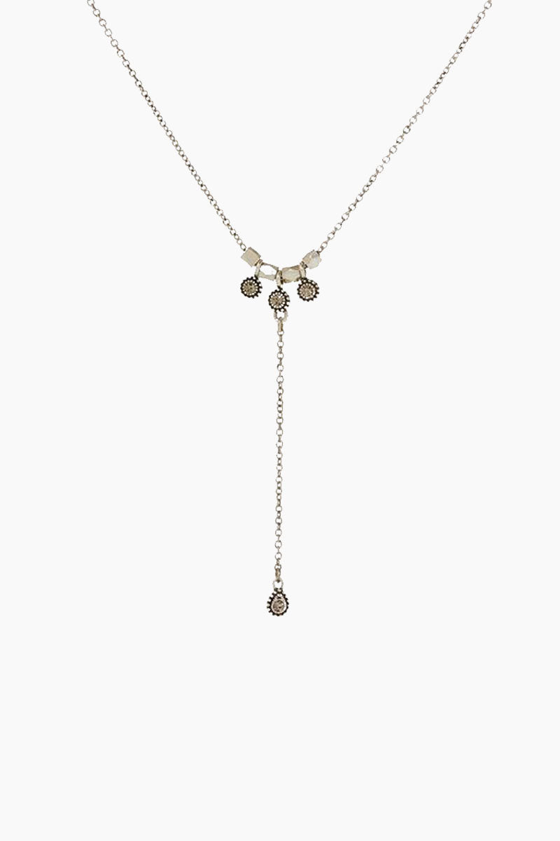 The Moroccan Stud Lariat Necklace - Silver