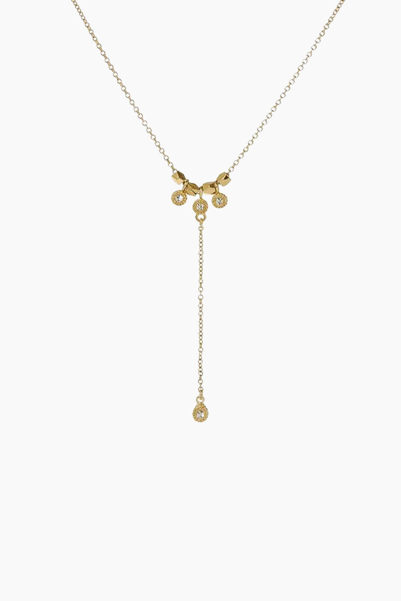 The Moroccan Stud Lariat Necklace - Gold