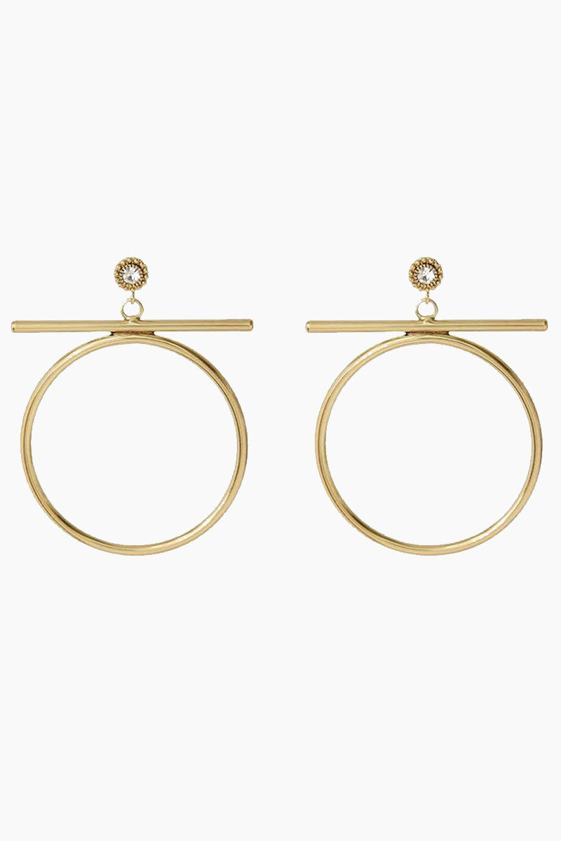 The Moroccan Stud Statement Hoop Drop Earrings - Gold
