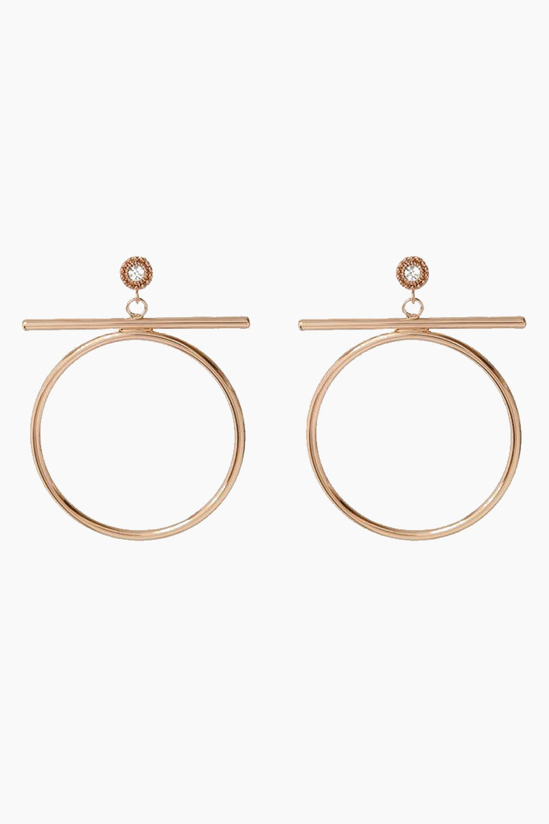 The Moroccan Stud Statement Hoop Drop Earrings - Rose Gold