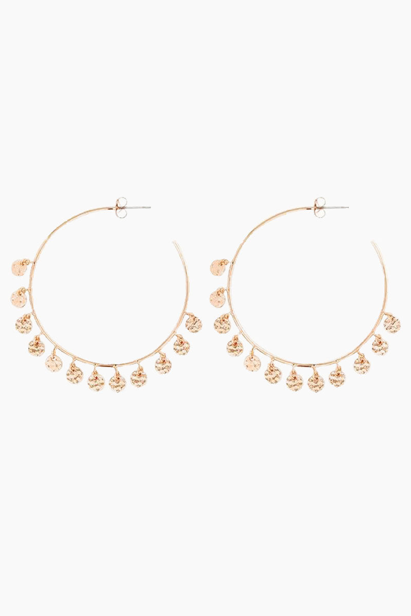 The Hammered Disc Hoops - Rose Gold