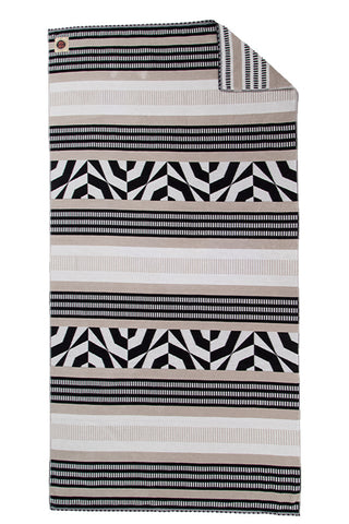 RUBY MINT Townsend Towel Accessories | Black/Tan/Cream Geometric Print|