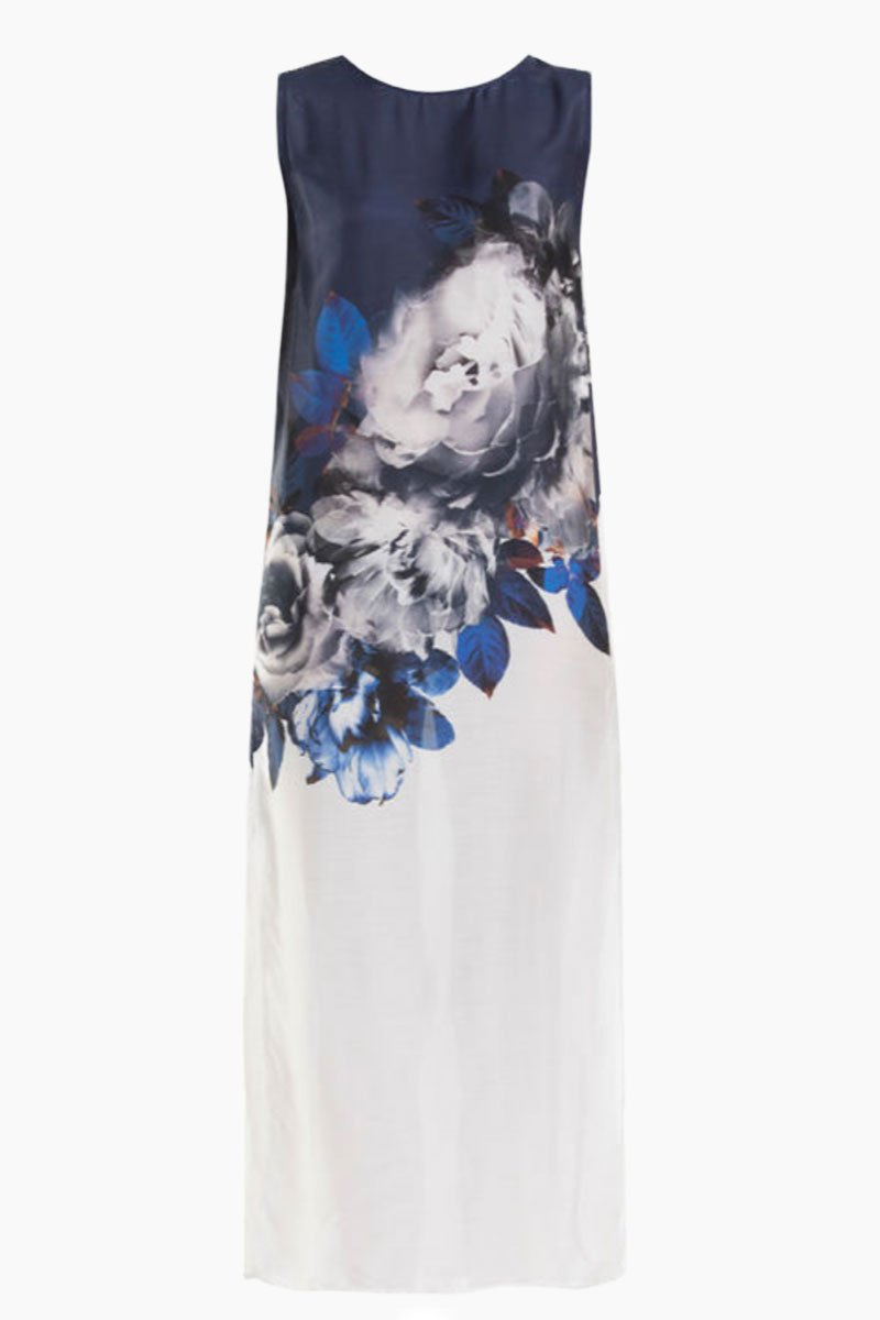 Tank Sleeveless Maxi Dress - Ink Blue & White Floral Print