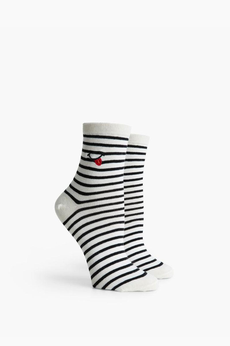 Tasty Ankle Socks - Black & White Stripe Print