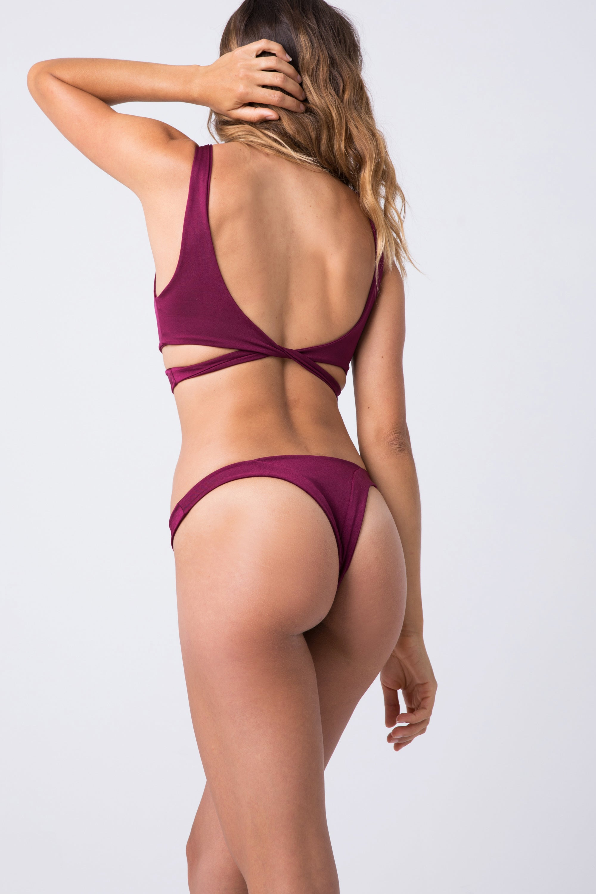 Tenille Banded Brazilian Bikini Bottom - Berry Red