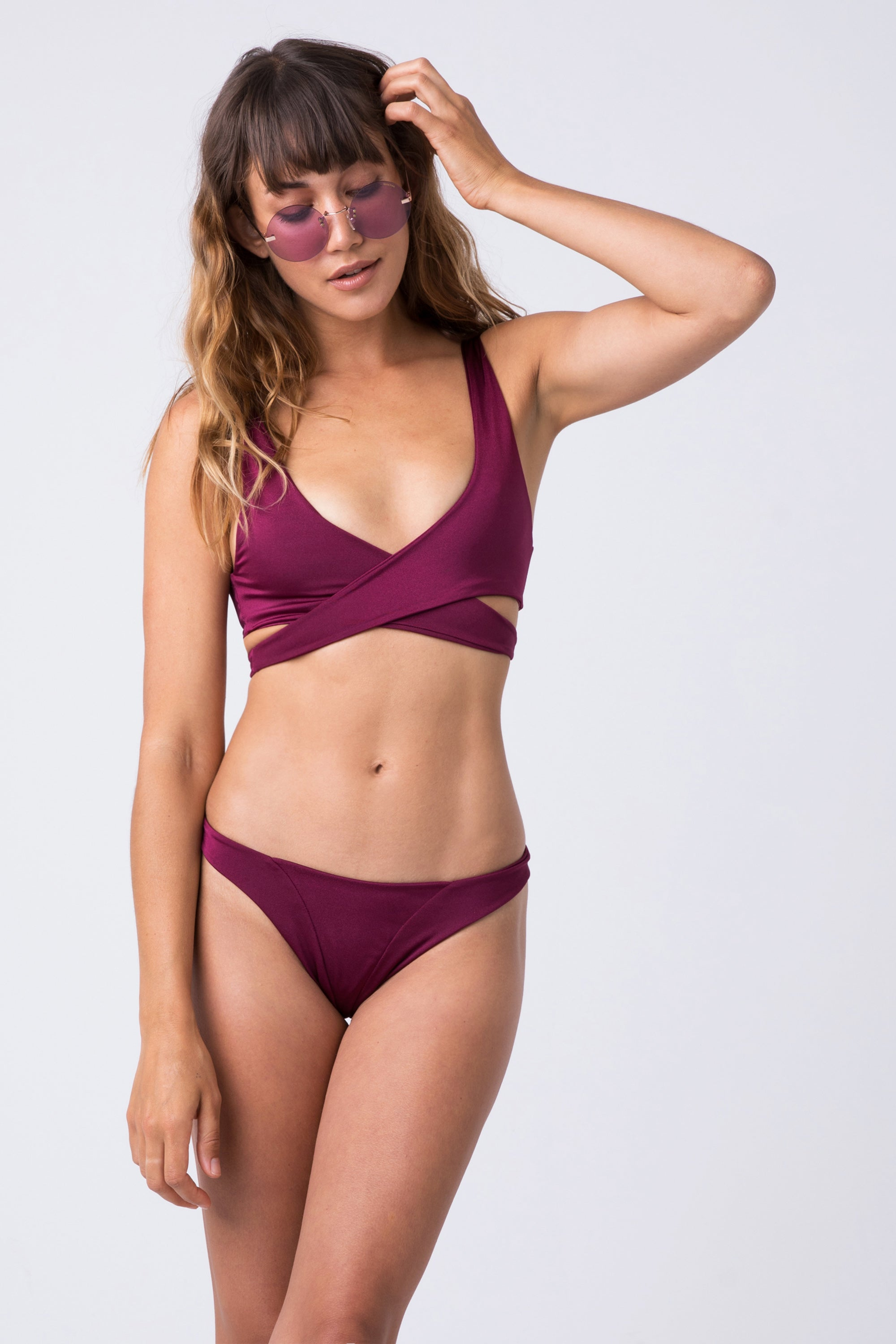 c27af6b1acb ... INDAH Tenille Banded Brazilian Bikini Bottom - Bordeaux Wine Red -  undefined undefined