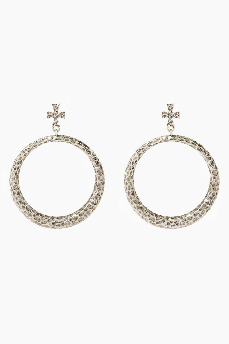 The Hammered Cross Hoop Earrings - Silver
