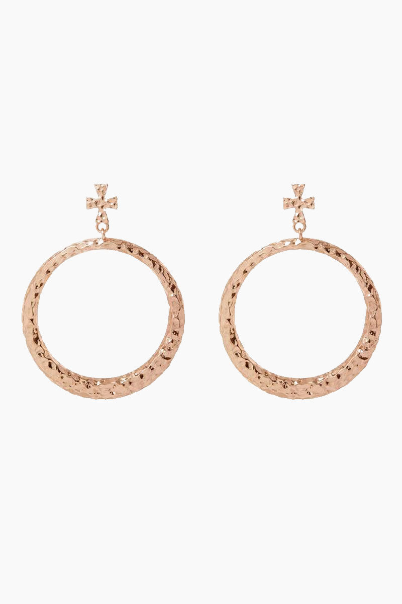 The Hammered Cross Hoop Earrings - Rose Gold
