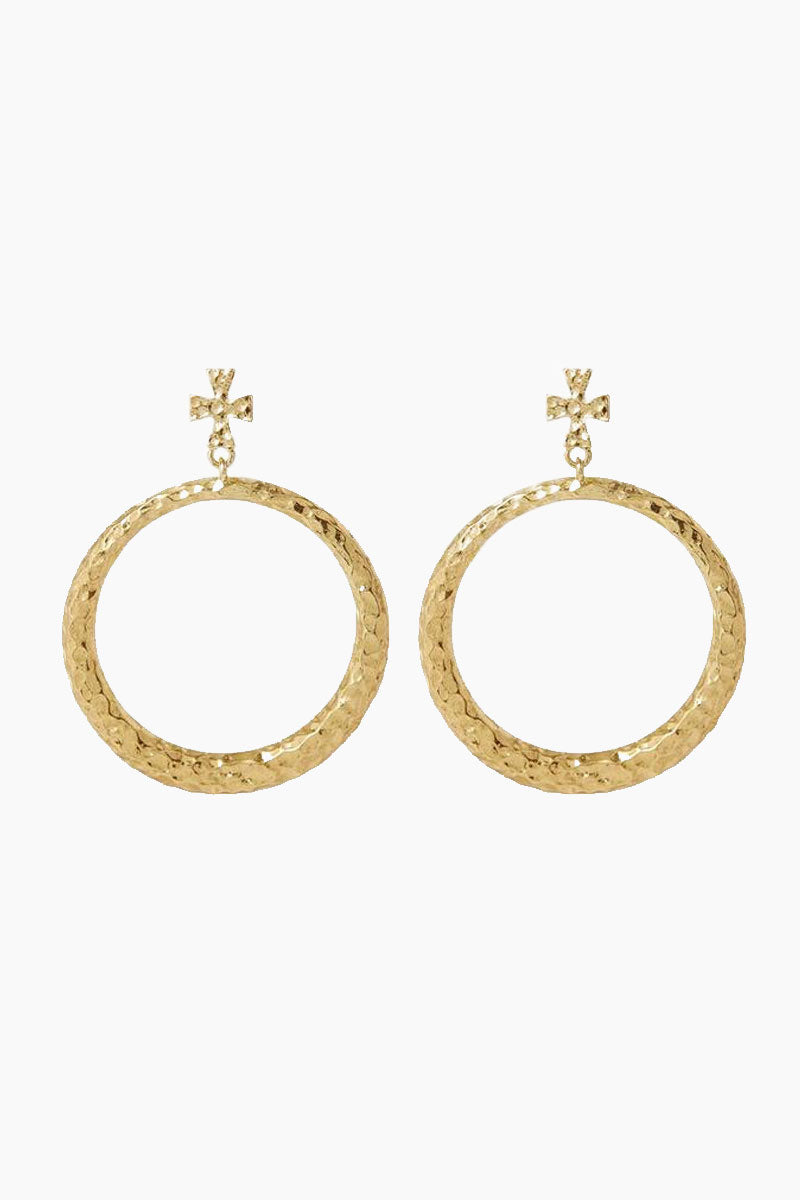 The Hammered Cross Hoops - Gold