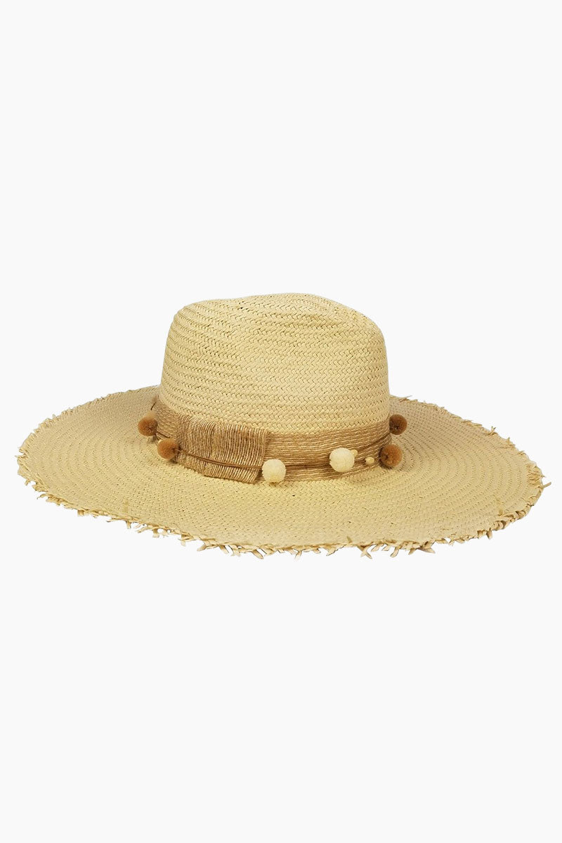 The Harbor Raffia Fringed Sun Hat - Natural Brown
