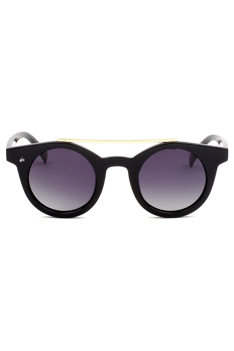 The Reagan Unisex Round Aviator Sunglasses - Black/Gold