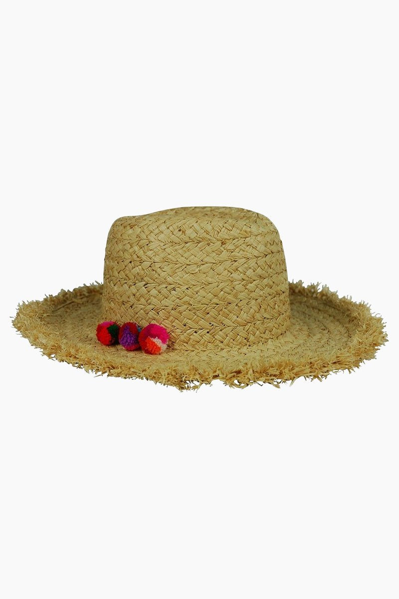 Thick Braid Fringed Rancher Hat - Natural/Multi
