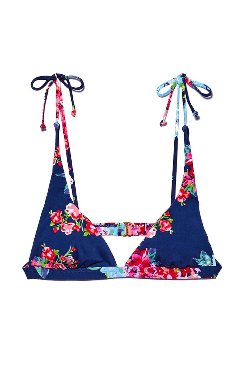 Dreams Shoulder Tie Triangle Bikini Top - Blue Floral Print