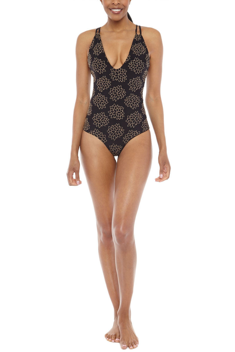 Elena Embroidered Tank Maillot One Piece Swimsuit - Storm Black