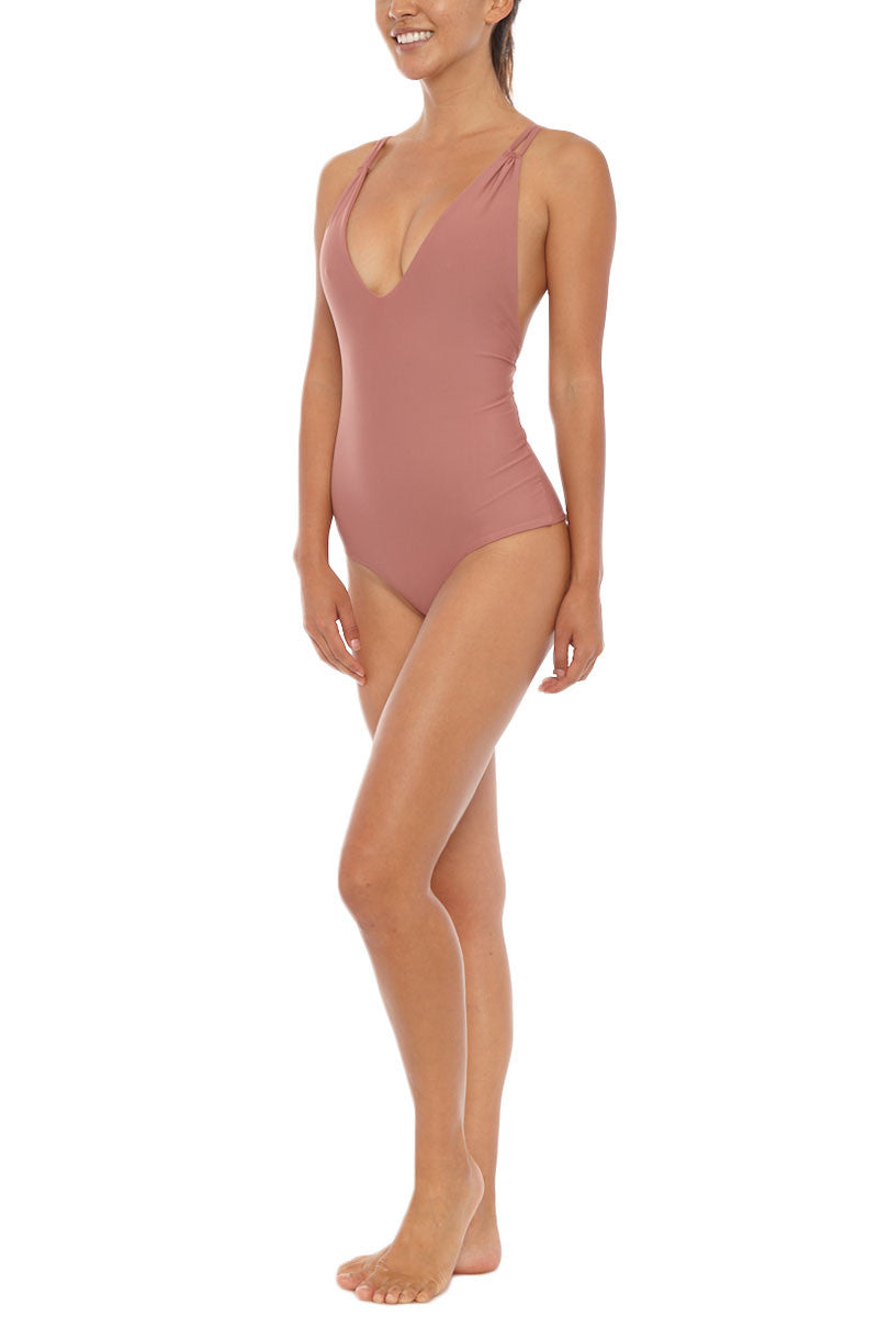Elena Tank Maillot One Piece Swimsuit - Spice Pink