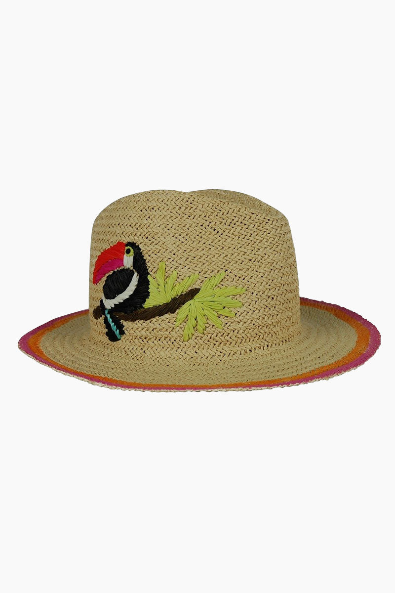 Toucan Embroidered Straw Fedora Hat - Natural