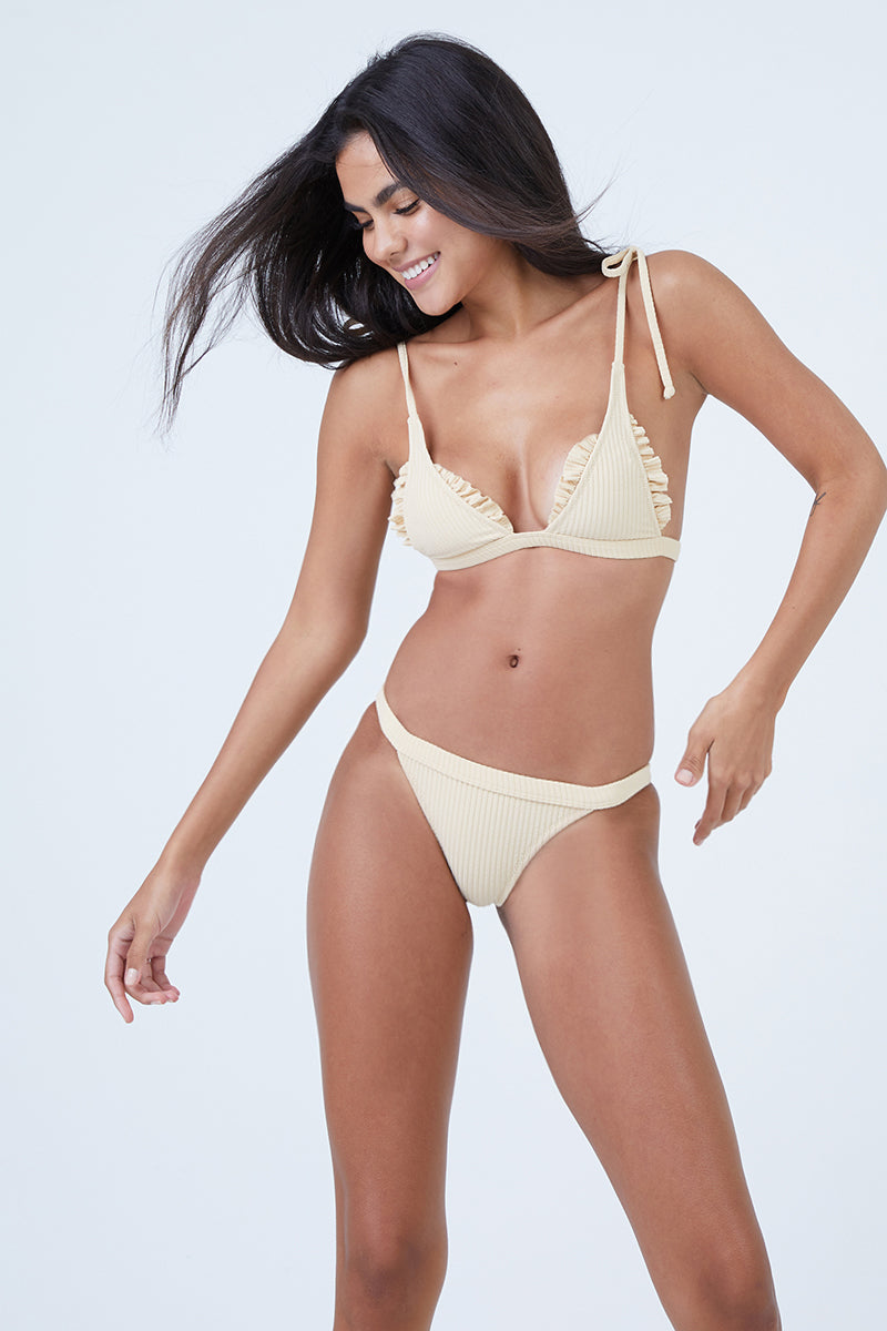 7470801b0d MADE BY DAWN Traveler Shoulder Tie Triangle Bikini Top - Blonde Rib - undefined  undefined ...