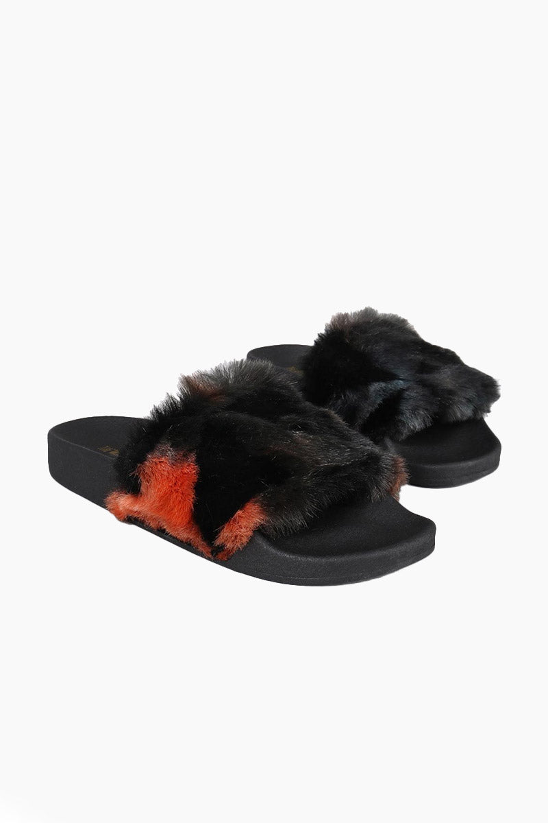 Triangles Fur Slides - Black