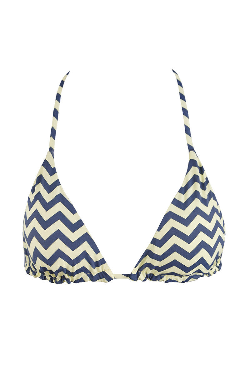 Reversible Triangle Bikini Top - Yellow/Gray Zig Zag