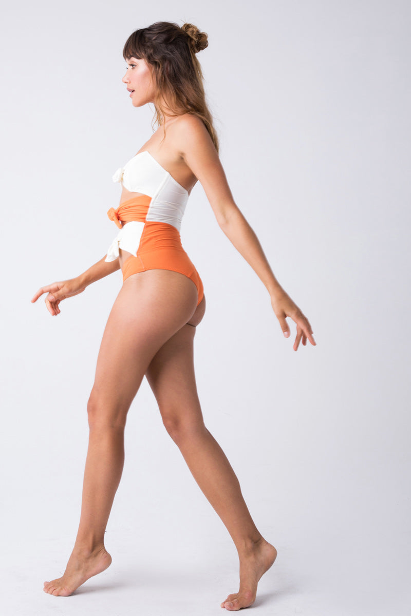 Poppy Color Block Triple Bow Front Cut Out One Piece Swimsuit - Orange/Cream White