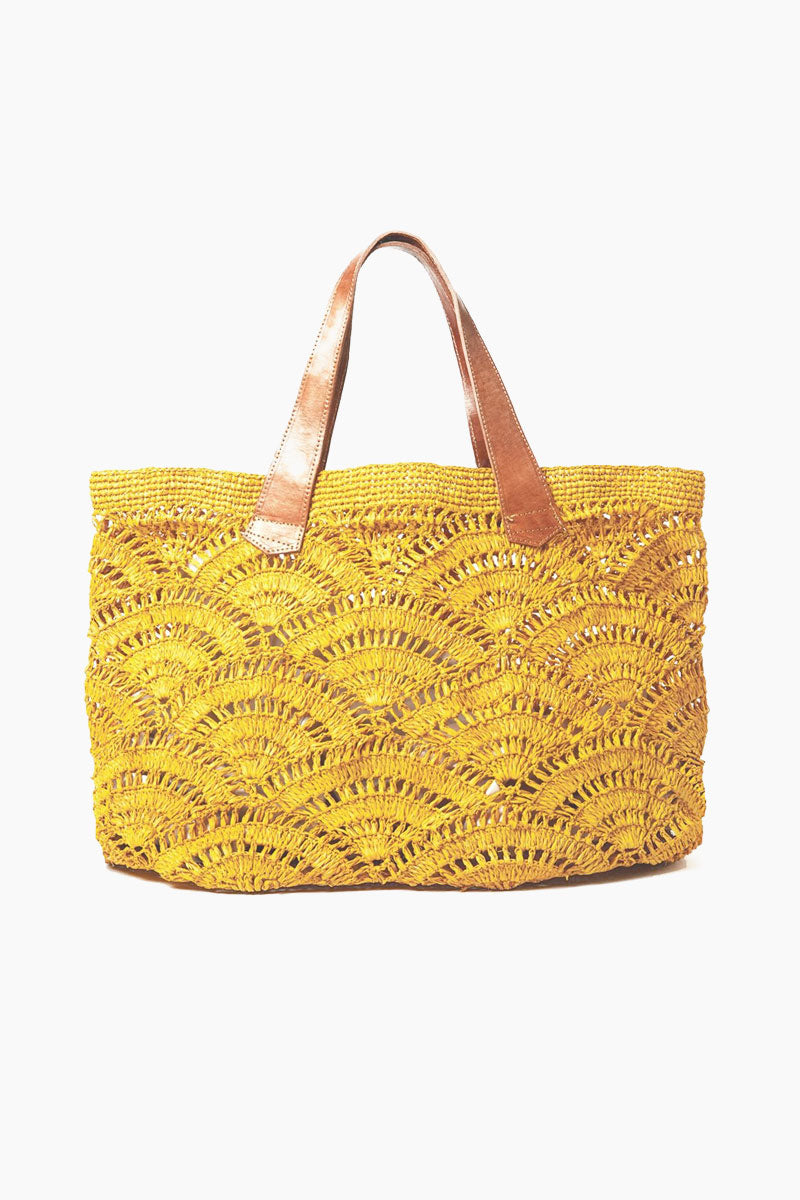 Tulum Crocheted Carryall With Leather Handles - Sunflower
