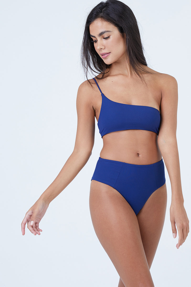 Tulum One Shoulder Bikini Top - Navy