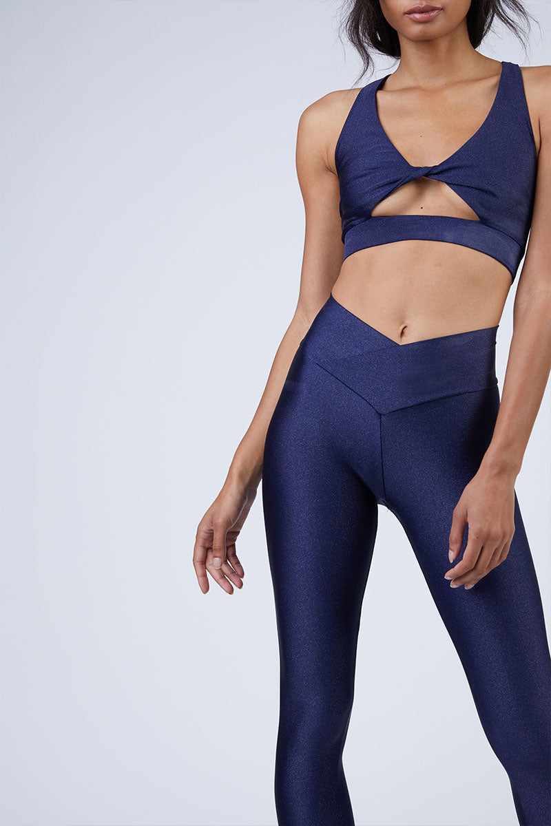 Aries High Rise V Waistband Yoga Leggings - Iridescent Navy