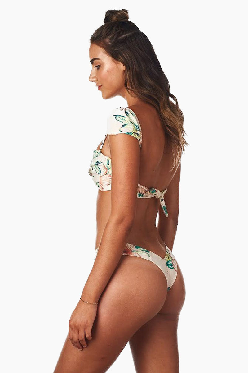 dfcd85d53c STYLE High-cut thong-style bikini bottom in a light brown gingham print The  high-rise band and high-cut legs elongate your frame and flatter your  curves.