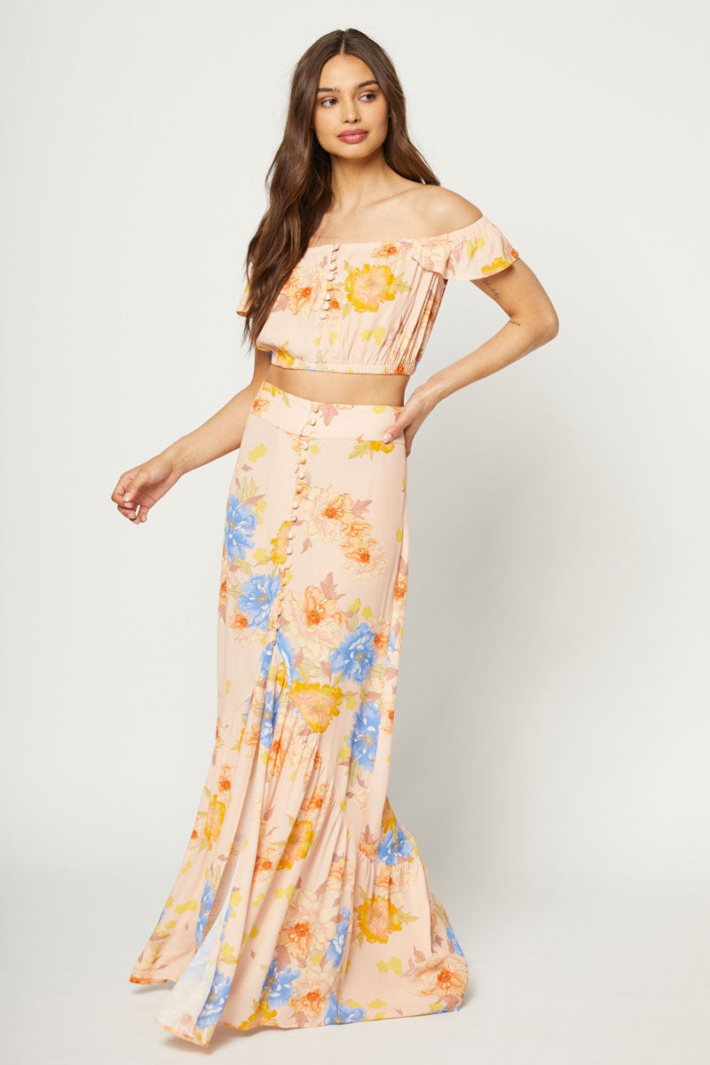 Unbutton Me High Waist Maxi Skirt - Peony Dreams Floral Print