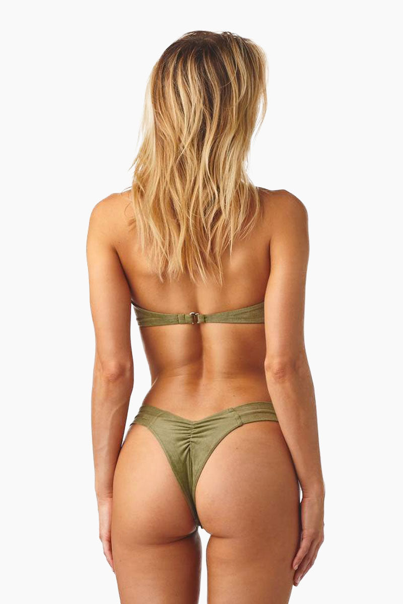 Uno Brazilian Cut Scrunch Bikini Bottom - Olive Green Faux Suede