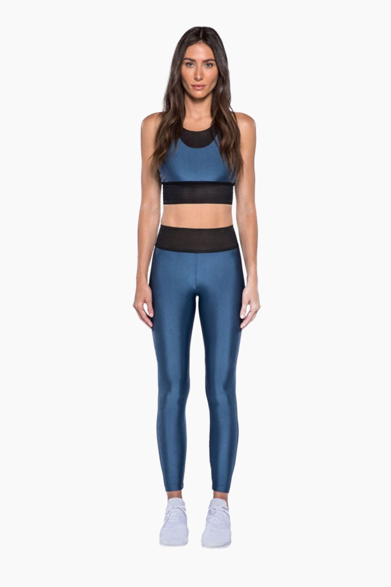 Utopia Color Block Double Layer Sports Bra - Catalina Blue/Black