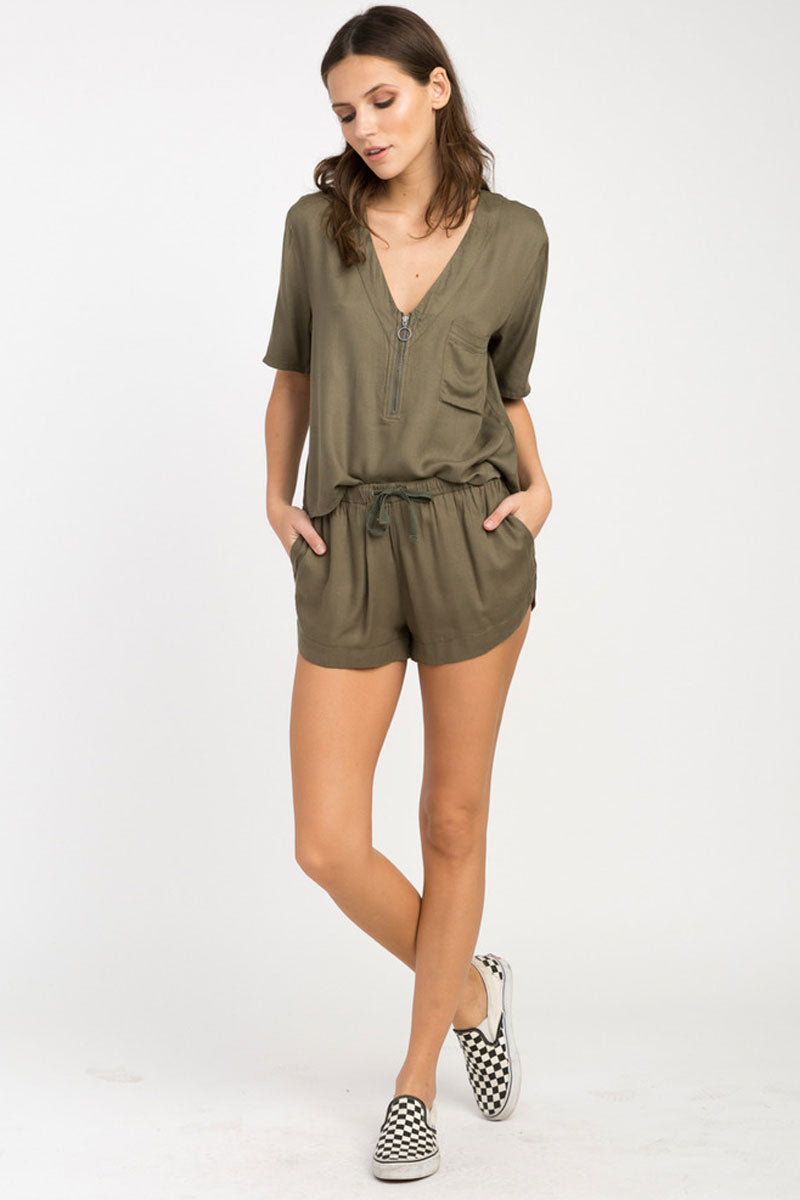Vary Yume Elastic Shorts - Burnt Olive Green