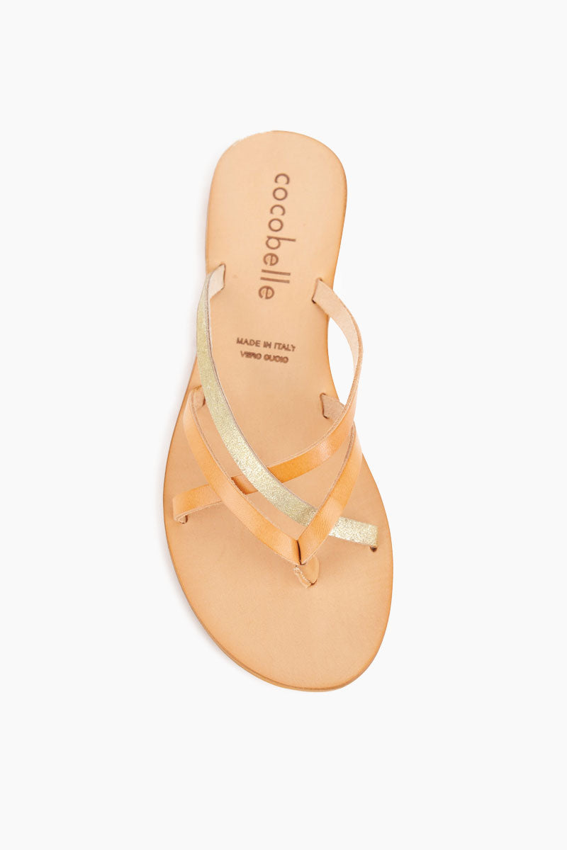 Vivi Strappy Sandals - Sand Brown & Metallic Gold