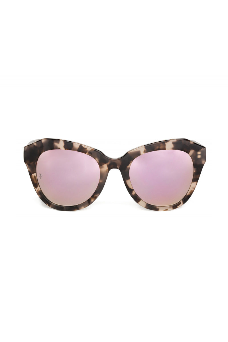 Calexico Cat Eye Mirrored Sunglasses -  Tortoise & Rose Pink