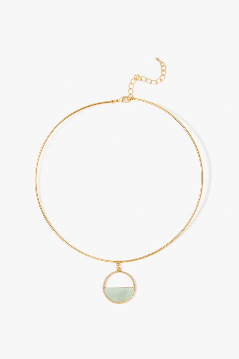 Semi Circle Gold & Mint Choker - Gold