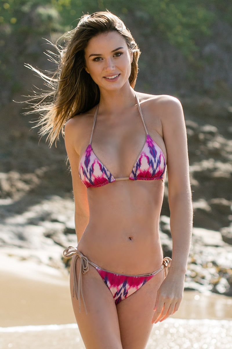 WATER GLAMOUR Inyo Braid Reversible Triangle Top Bikini Top | Berry Tie-Dye/Nude|Talita