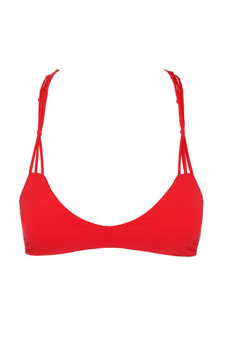 WATER GLAMOUR Knotted Halter Top Bikini Top | Hot Coral|
