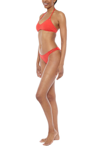 WATER GLAMOUR Knotted Halter Top Bikini Top | Hot Coral| Water Glamour Knotted Halter Bikini Top
