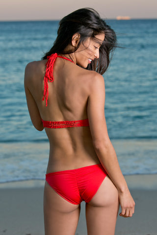 WATER GLAMOUR Knotted Scrunch Bottom Bikini Bottom | Hot Coral|