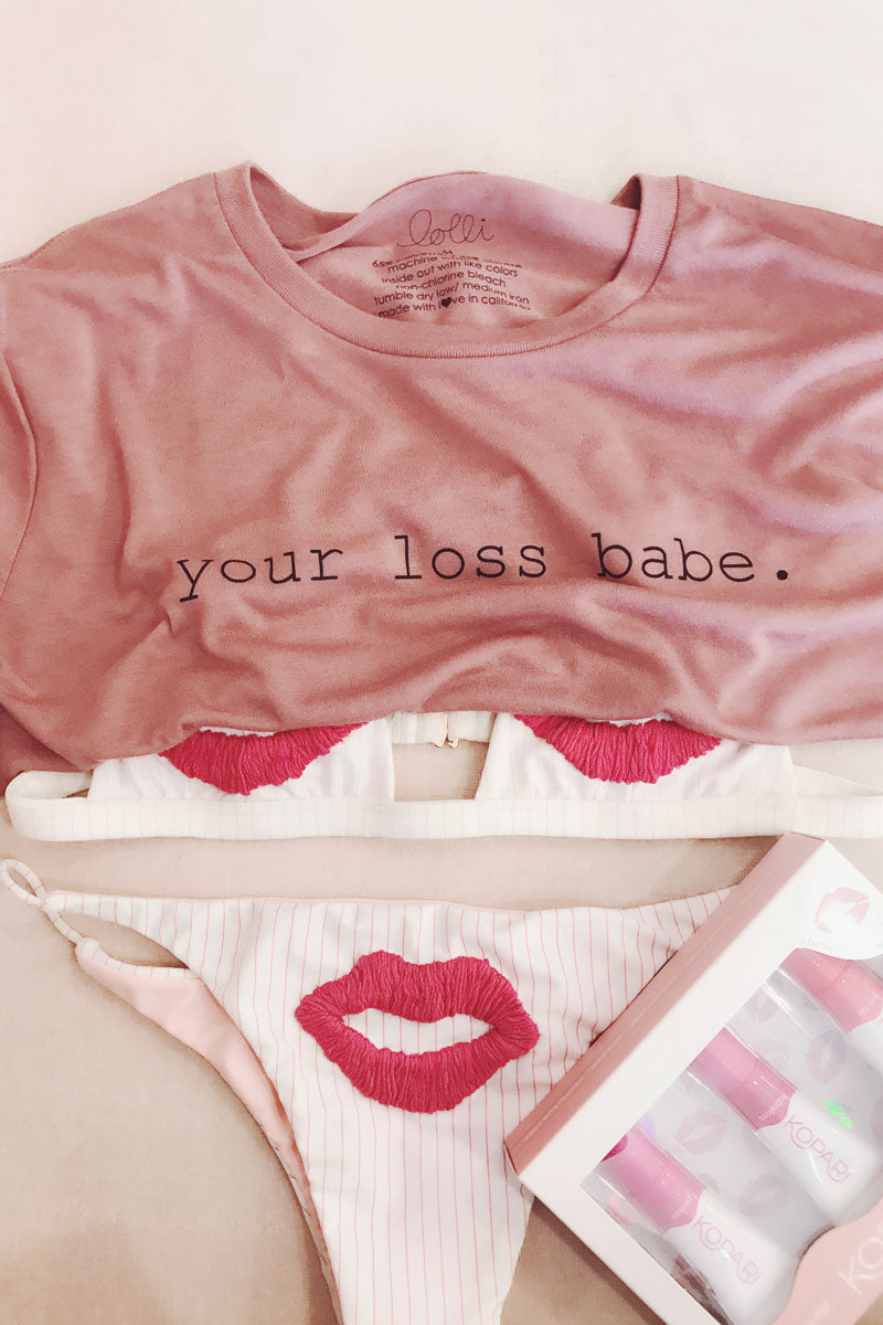Your Loss Babe Flowy Crop Tee - Pink Sky