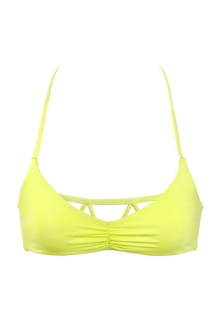 BETTINIS Zigzag Halter Top Bikini Top | Acid Lime|