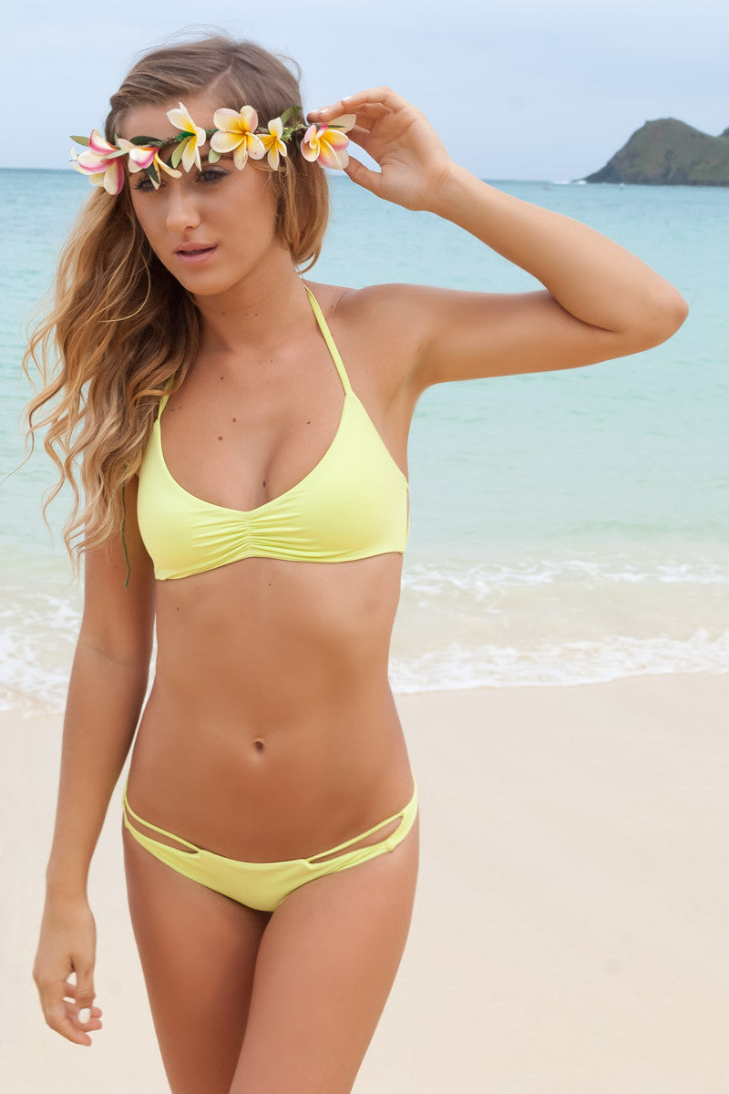 BETTINIS Zigzag Halter Top Bikini Top | Acid Lime|Angie