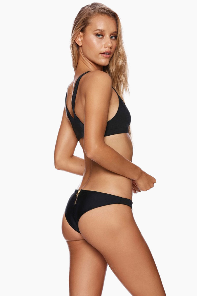 Zoey Cheeky Back Zipper Bikini Bottom - Black