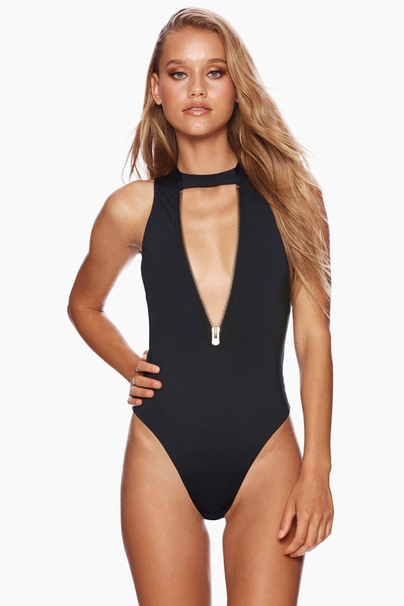 b7229314224df BEACH BUNNY Zoey Zip Up One Piece Swimsuit - Black - undefined undefined ...