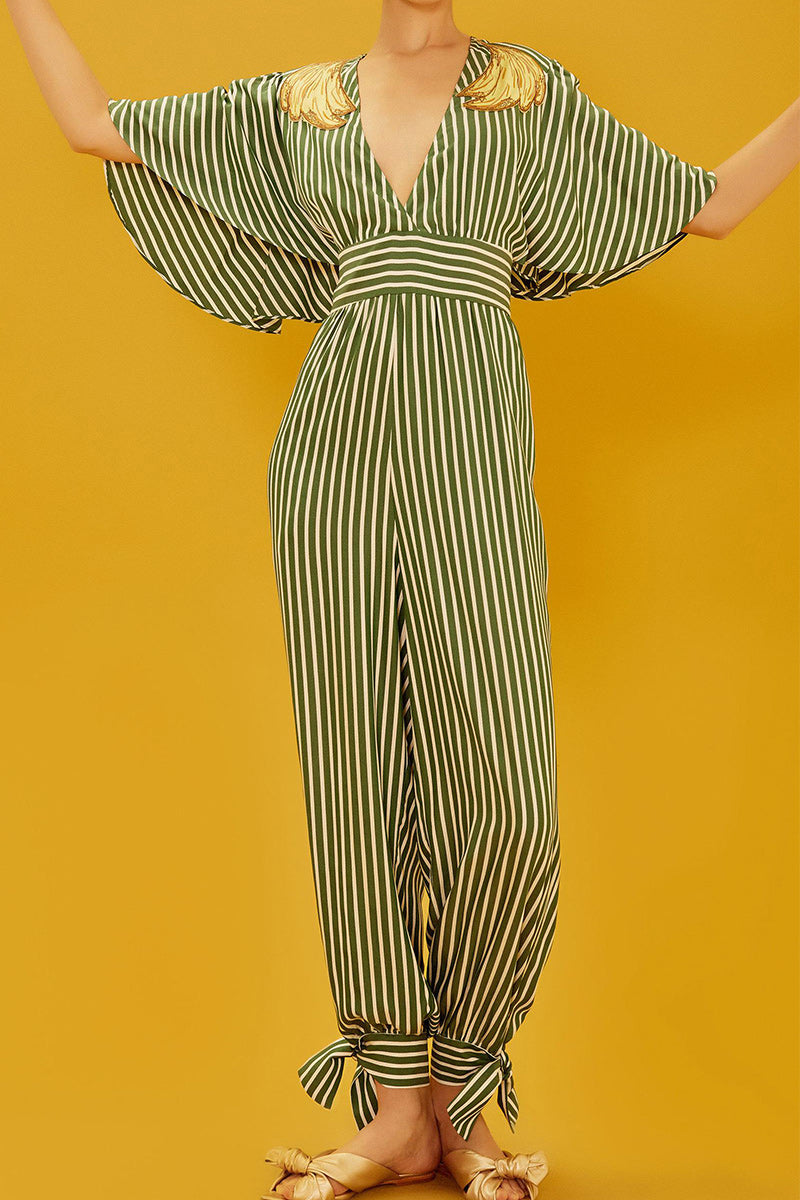 Striped Jumpsuit - Green
