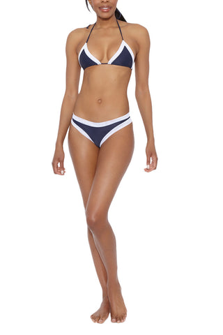 AILA BLUE Christopher Cheeky Mesh Low Rise Bikini Bottom - Ink Bikini Bottom | Ink| Aila Blue Christopher Cheeky Mesh Low Rise Bikini Bottom - Ink. Front View. Mesh Border. Cheeky Coverage. Low Rise.