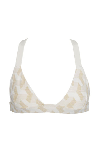 HOUSE OF AU+ORA White Fox Lady Top Bikini Top | White & Gold|