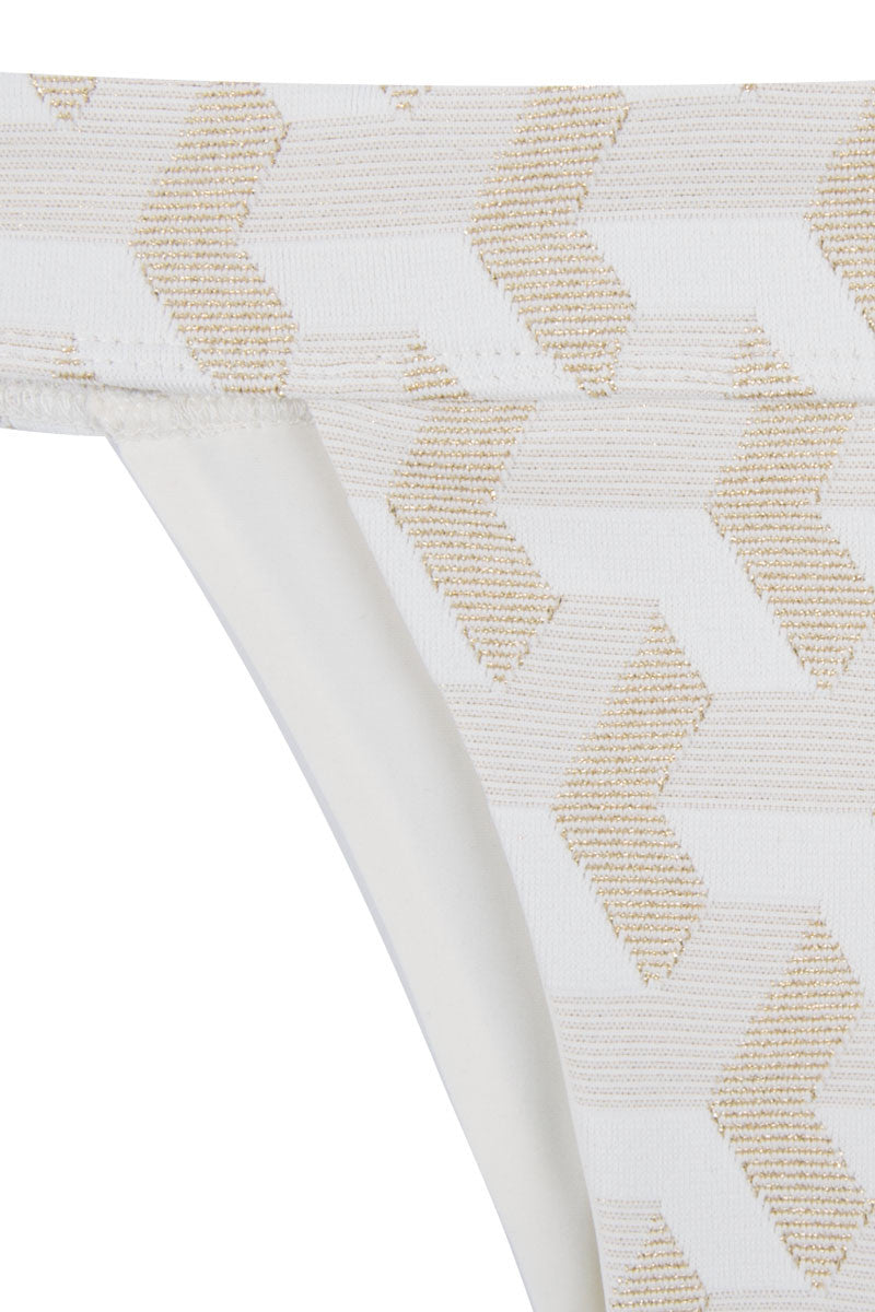 HOUSE OF AU+ORA White Fame Bottom Bikini Bottom | White & Gold|
