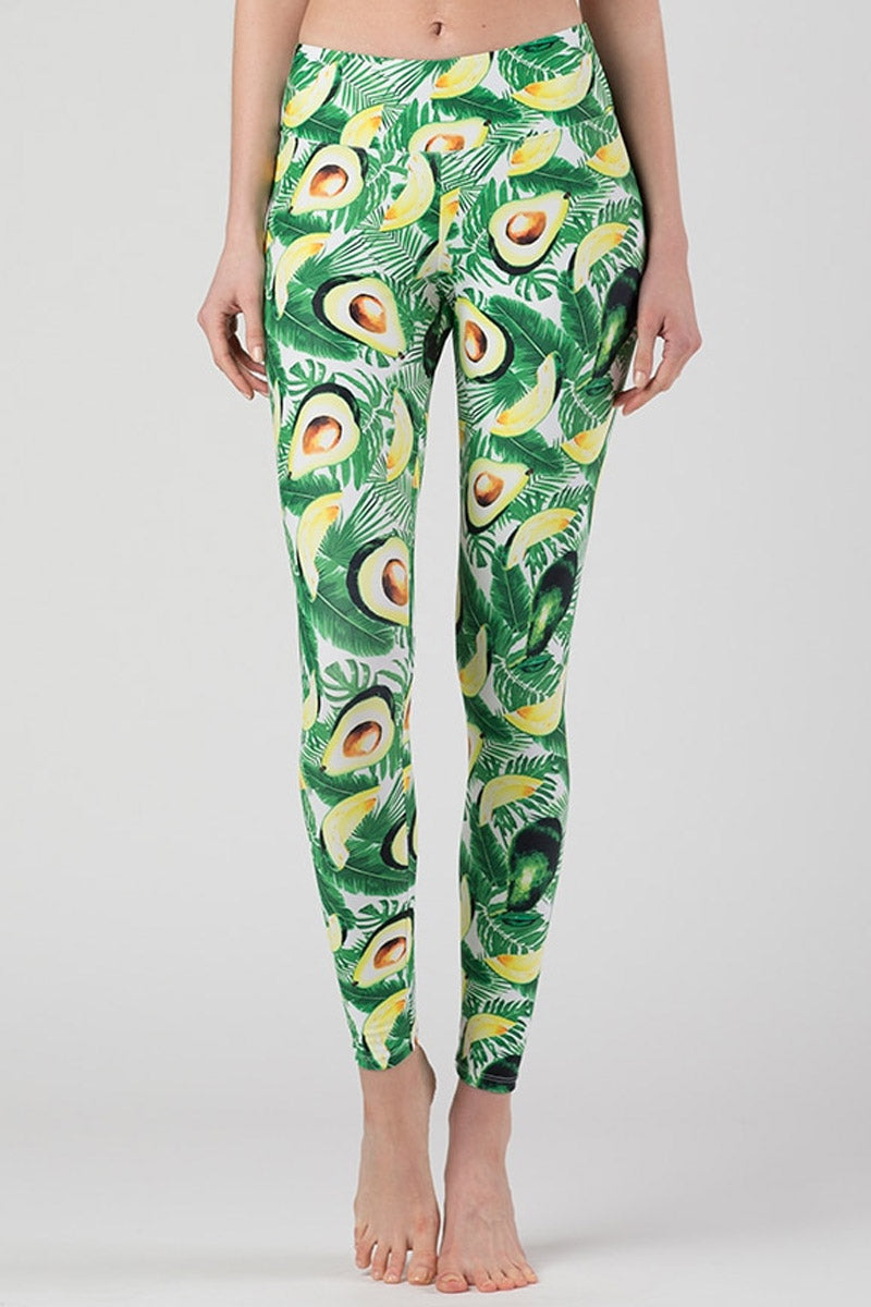 Reese High Rise Leggings - Green Avocado Print
